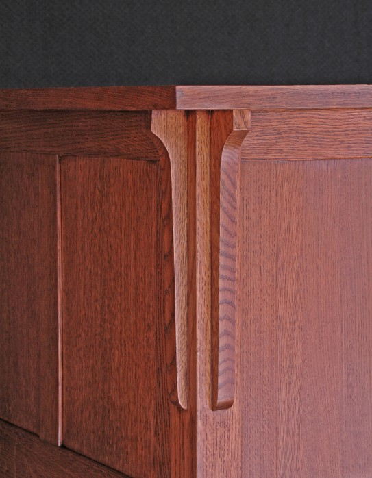 Quarter sawn white oak (Item: COMO1) Detail #1 ~ commission order by a Milwaukee couple