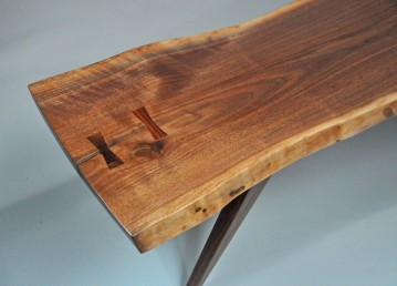 Black walnut live edge slab and rosewood keys (Item: CTB2L1) Detail #1