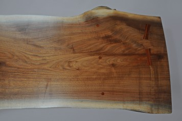 Black walnut live edge slab, rosewood keys, and maple (Item: CTB3) Detail #2